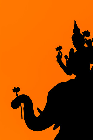 hallow: Silhouette of Thailand style with Orange background Stock Photo