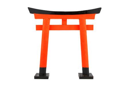 single orange Torii on white background, isolated Stock Photo