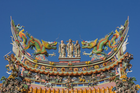 ourdoor: Chinese roof from Chinese temple, with blue sky