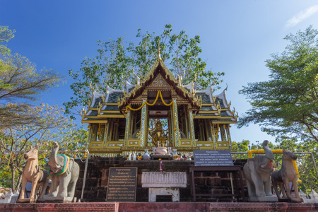 the house of worship: Brahma Statue in house of worship, Outdoor with blue sky