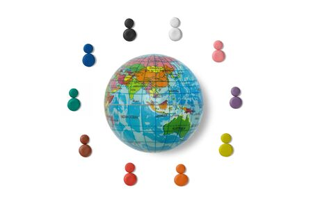 Colours of clay represent multiethnic of people around the world, with global ball toy
