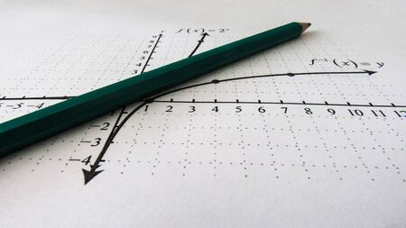 Graphical representation of math functions and a pencil Banque d'images