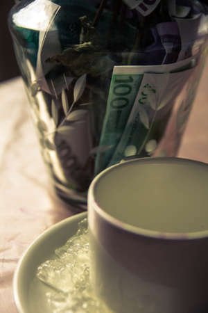 yellow dry flowers in a vase where instead of water of money. flowers grow out of money. vase floor money Euro dollars