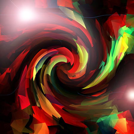 cubismo: Abstract coloring tube red gradients background with visual lens flare,cubism and twirl effects