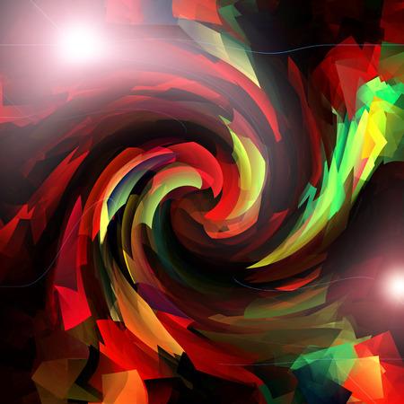 cubismo: Resumen tubo de coloración gradientes de color rojo de fondo con reflejo en la lente visual, el cubismo y efectos del giro de Foto de archivo