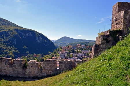 Travel to Europa.Panoramic view over city from old castle in the Jajce-Bosnia and Herzegovina Stock Photo