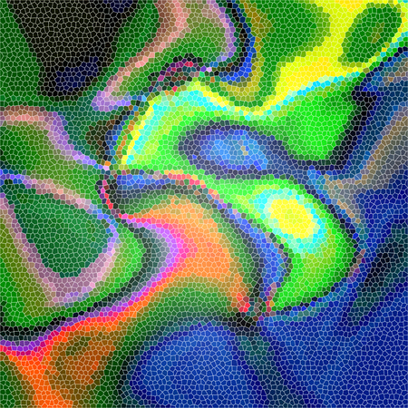 Abstract background of the caribbean blues gradient with visual cubisma,wave and stained glass effects