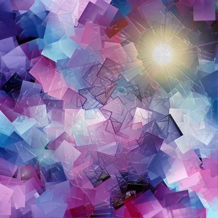 Abstract coloring background of the dark gradient with visual cubism,lighting and plastic wrap effects Imagens