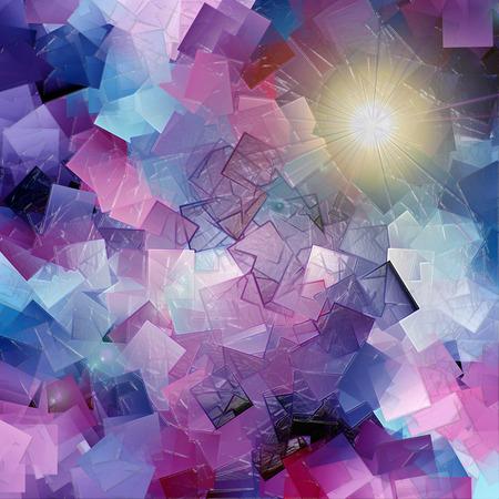 cubismo: Fondo abstracto colorido de la pendiente oscura con el cubismo visual, la iluminación y los efectos de envoltura de plástico Foto de archivo