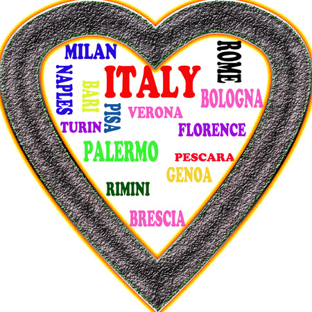 Italy in the Europe and Italys cities as background, with form of the heart Stock Photo
