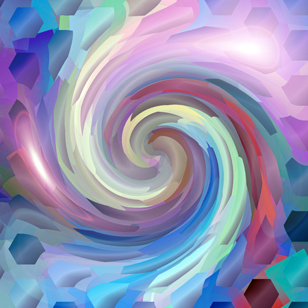 Abstract coloring background of the horizon gradient with visual cubism,mosaic,lighting and twirl effects