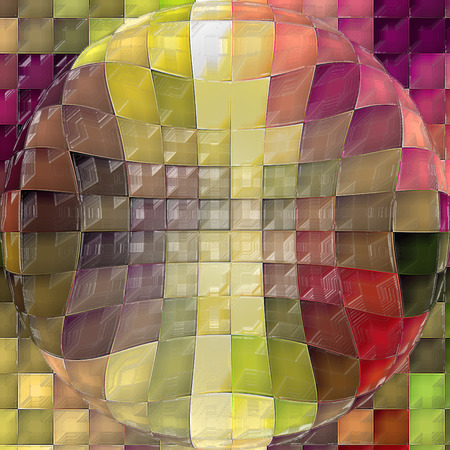Abstract coloring background of the horizon gradient with visual cubism,mosaic,spherize,pinch and plastic wrap effects