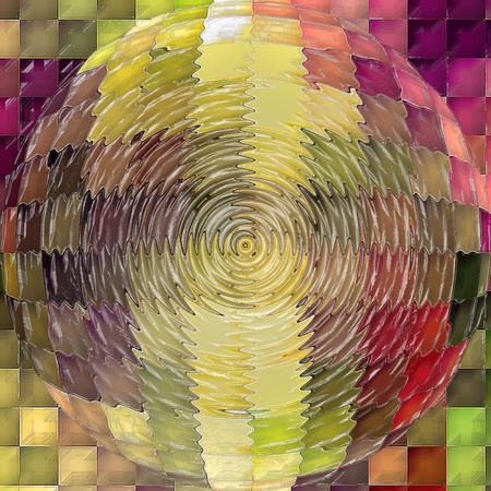 cubismo: Resumen de antecedentes coloración del gradiente horizonte visual con el cubismo, mosaico, spherize, zigzag y efectos envoltorio de plástico Foto de archivo