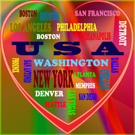 VS in de wereld en de steden van de VS als achtergrond, met een vorm van het hart Stockfoto - 65158472