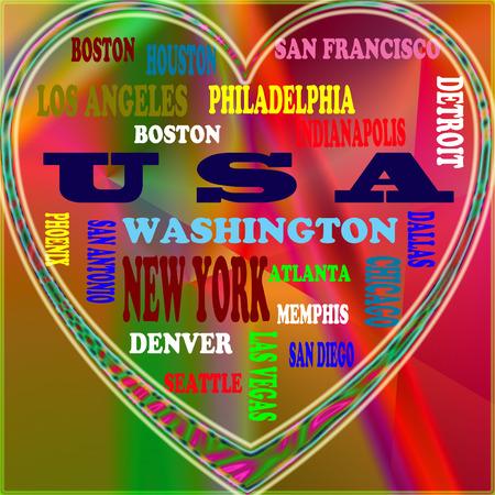 VS in de wereld en de steden van de VS als achtergrond, met een vorm van het hart