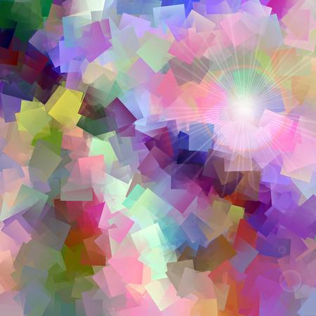 cubismo: Resumen de fondo del gradiente de colores pastel con el cubismo visual, la iluminación y los efectos de envoltura de plástico