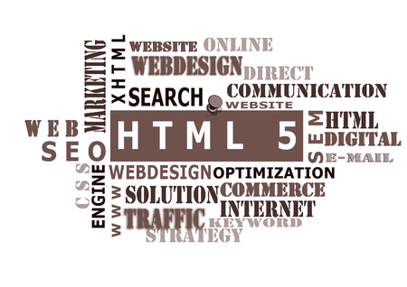 html: HTML 5 word cloud tag,business and internet concept Stock Photo