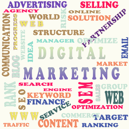 digital marketing: The word cloud of the digital marketing Stock Photo
