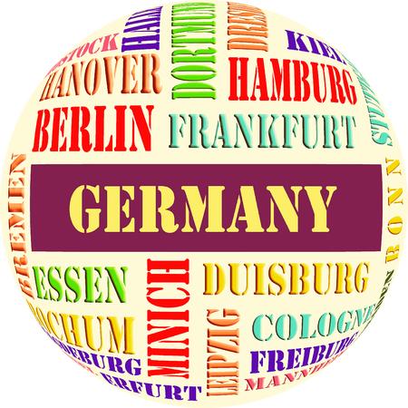 De cirkelillustraties van de steden van Duitsland. Stockfoto
