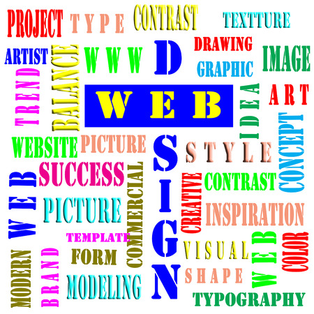 The word cloud of the web designbusiness and internet concept