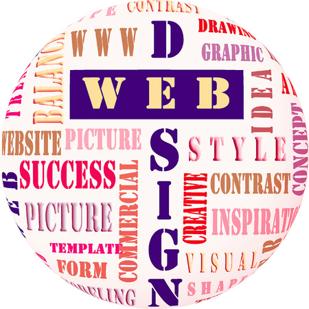 The word cloud of the web design business and internet concept Stock Photo