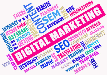 global communication: The word cloud of the digital marketing as background,business and internet concept Stock Photo