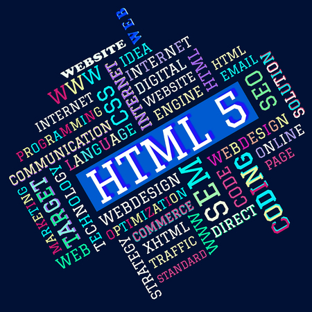 The HTML 5 word cloud,business and internet concept as background Stock Photo