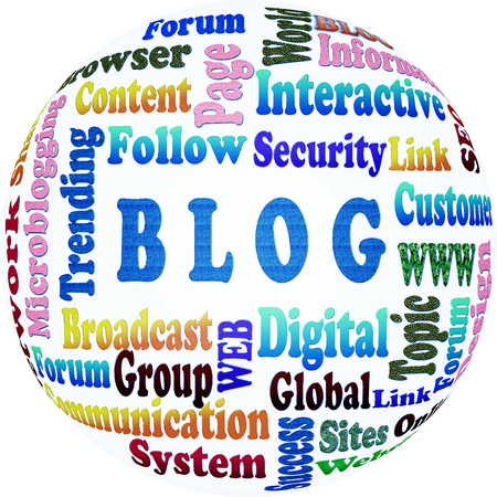 The blog word cloud,business and internet concept as background Stock Photo