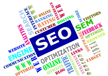 The SEO-Search Engine Optimization,word cloud as background Stock Photo
