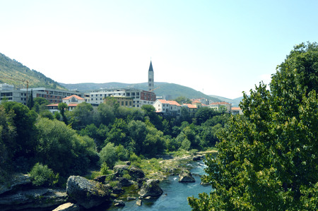 Travel to Europe during summer to Mostar in the Bosnia and Herzegovina Stock Photo