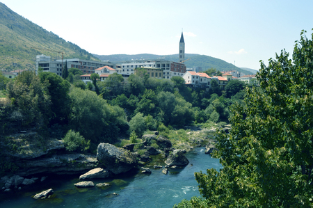 Travel to Europe under summer,Mostar in the Bosnia and Herzegovina Stock Photo