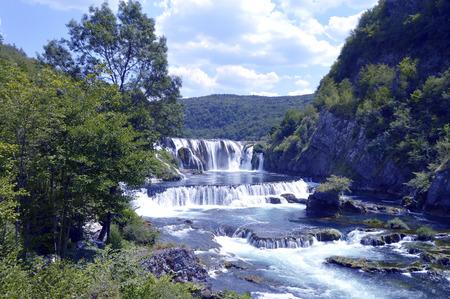 Waterfall-Strbacki Buk on the river Una near city Bihac,Bosnia and Herzegovina Stock Photo