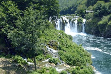 Waterfall-Strbacki buk on the river-Una,near Bihac - Bosnia and Herzegovina Stock Photo