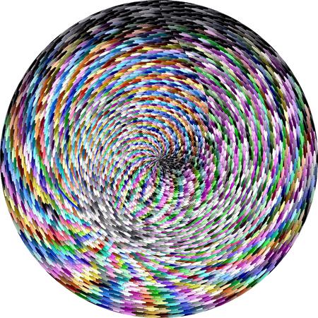 抽象的な視覚的歪み、モザイク、回転、波、球面パステル虹のグラデーションの背景を着色し、照明効果