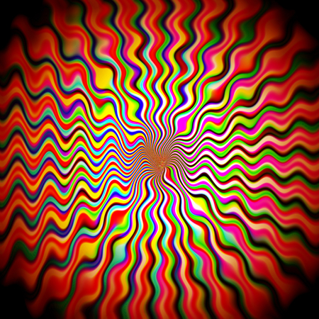 抽象的な視覚的歪み、波、せん断、回転、ピンチ、照明効果とパステル虹のグラデーションの背景を着色