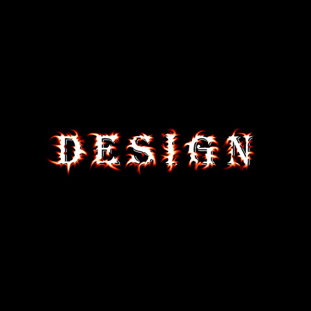 Word-design,deformed with flame as background