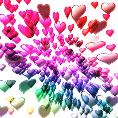 Abstract coloring background of the deformed heart with visual effects