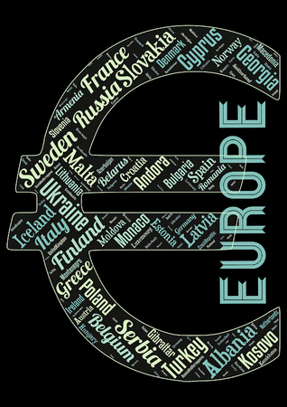 Word cloud of the Stats in Europe as background Foto de archivo - 118123386