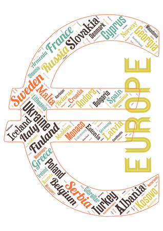 Word cloud of the Stats in Europe as background Foto de archivo - 118123408