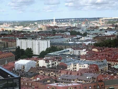 Panoramic view from Gothia Towers over Gothenburg under summer,Sweden