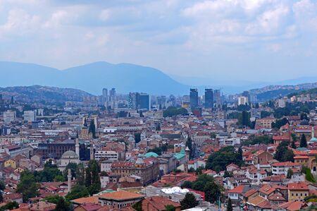 Travel to Europe under summer,panoramic view over Sarajevo in Bosnia and Herzegovina