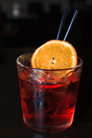 cool alcoholic cocktail with oranges Stock Photo