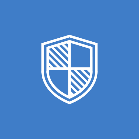 Shield icon in trendy flat style, shield vector illustration, security symbol Иллюстрация