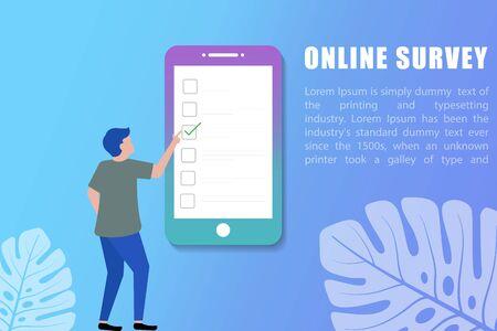 People completing surveys on smartphone / mobile device vector illustration. can use for landing page, web, mobile app, poster, banner, etc.