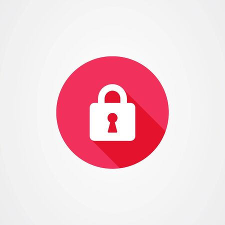 Padlock or lock icon vector in red with long shadow effect. Safe and security symbol. Vectores
