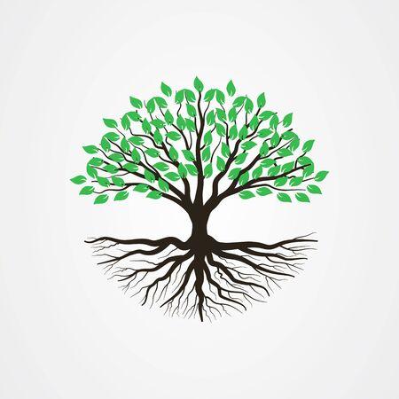 Árbol abstracto con raíces y hojas verdes. Ilustración de vector