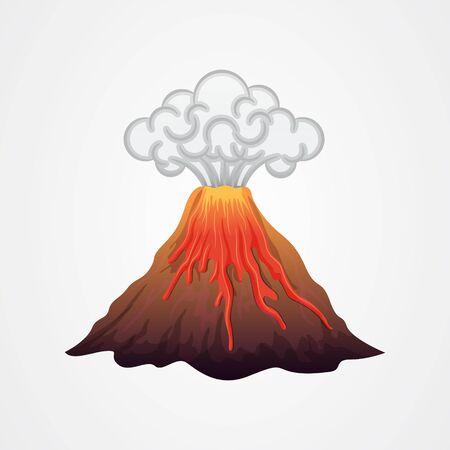 Éruption volcanique avec illustration vectorielle de lave et de fumée Vecteurs