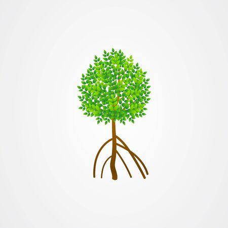 Tree and roots vector, mangrove tree illustration, mangrove plant Ilustrace