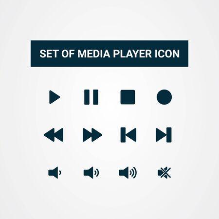 Media player button icon flat design vector template Vettoriali