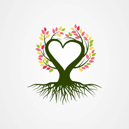 Abstract tree vector illustration with branch heart shaped Vektorové ilustrace